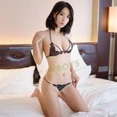 性感內衣褲 百變誘惑低胸綁帶深V兩件組(黑)-玩伴網【滿額免運】