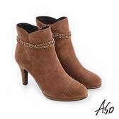 A.S.O 百變女伶 可拆卸金屬飾釦絨面短靴