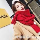 圍巾女秋冬季新款韓版加厚情侶針織紅色毛線學生百搭加厚保暖圍脖 美眉新品