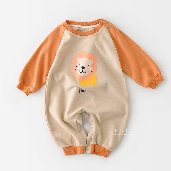 可愛動物圖案長袖包屁衣 橘色獅子 長袖包屁衣 連身衣 嬰兒裝 包屁衣