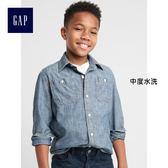 Gap男童 純棉長袖牛仔襯衫 兒童基本款上衣大童外套 249821-中度水洗