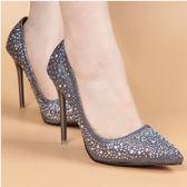 歐美春夏尖頭水鉆高跟鞋細跟淺口性感單鞋亮片銀色婚鞋女鞋子10.5cm 巴黎時尚