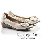 ★2017春夏★Keeley Ann優雅迷人~閃耀晶鑽蝴蝶結全真皮楔形魚口鞋(米色)