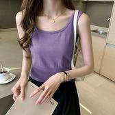 針織小吊帶背心女夏季2021新款顯瘦內搭打底衫彈性外穿無袖上衣服