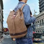 後背包 韓版帆布運動包雙肩包圓桶包旅游電腦背包旅行包  萬客居