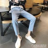 韓版男士牛仔褲夏季青少年修身小腳窄管休閒學生長褲 概念3C旗艦店