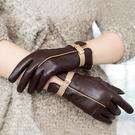 防風手套 皮質手套女士觸屏冬季山羊皮騎行防風加絨加厚保暖羊皮薄款秋