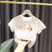女童短袖上衣 女寶寶洋氣可愛短袖上衣女嬰兒童夏裝正韓女童簡約小清新T恤-Ballet朵朵