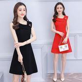 紅色無袖洋裝2018夏裝新款中長款修身顯瘦氣質A字裙 DN14869『小美日記』