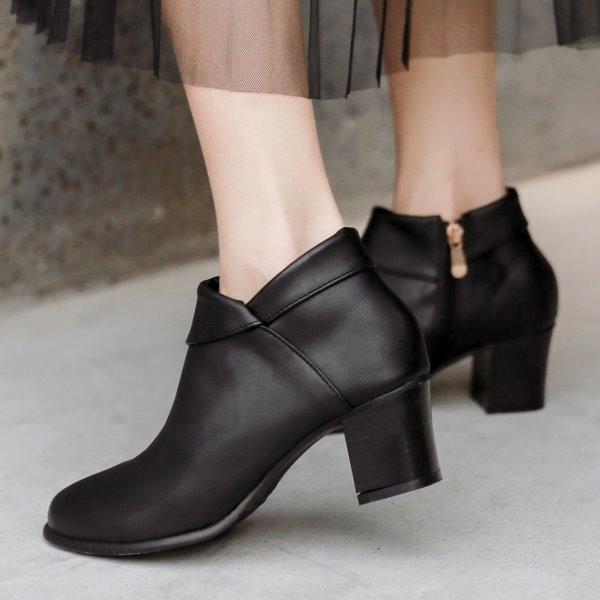 踝靴.訂製款.MIT氣質翻摺皮革高跟短靴.白鳥麗子