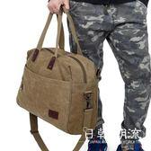 旅行包  新款手提旅行包大容量短途出差行李包復古帆布包男電腦包商務包