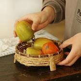 竹編筐竹制品竹果籃干果盤紫竹中式復古手工茶室收納