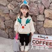 聖誕節服裝 童裝冬裝新款女寶寶秋冬洋氣韓版嬰幼兒加絨衛衣套裝兩件套 DR32504【男人與流行】