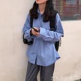 特賣襯衫新款韓系秋裝復古百搭顯瘦口袋上衣寬鬆素色長袖襯衫外套女
