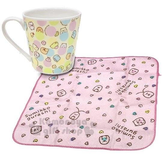 〔小禮堂〕角落生物 陶瓷馬克杯方巾組《粉黃.點點滿版》咖啡杯.茶杯.手帕 4990270-11629