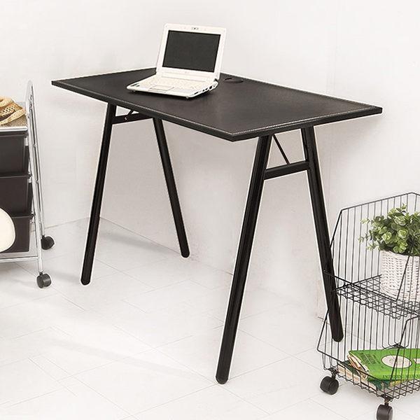 電腦桌【澄境】90CM大桌面手工縫紉皮革工作桌 (電腦桌/辦公桌/書桌/餐桌/桌子) TA047