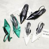 歐美尖頭蝴蝶結拖鞋女夏外穿新款綢緞面細跟涼拖小貓跟穆勒鞋