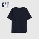 Gap男童 純棉質感厚磅短袖T恤 764972-海軍藍