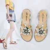 平底涼鞋 仙女風花朵 涼鞋女夏季 平底羅馬鞋 新款 女鞋韓版百搭休閒 沙灘鞋 聖誕裝飾8折