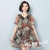 大碼短袖洋裝 雪紡裙女寬松中長款上衣夏季連身裙