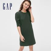 Gap女裝柔軟泡泡袖圓領T恤式洋裝493712-墨草綠