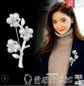 胸針時尚胸花女開衫毛衣外套胸針西裝大別針韓國鑲鉆花朵配飾 爾碩數位