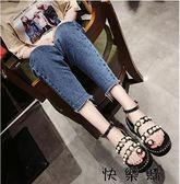 好康618 時尚珍珠一字扣帶套趾坡跟羅馬涼鞋