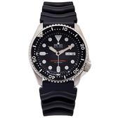 SEIKO 潛水款機械的橡膠手錶(SKX007J1)-黑面X黑色/42mm
