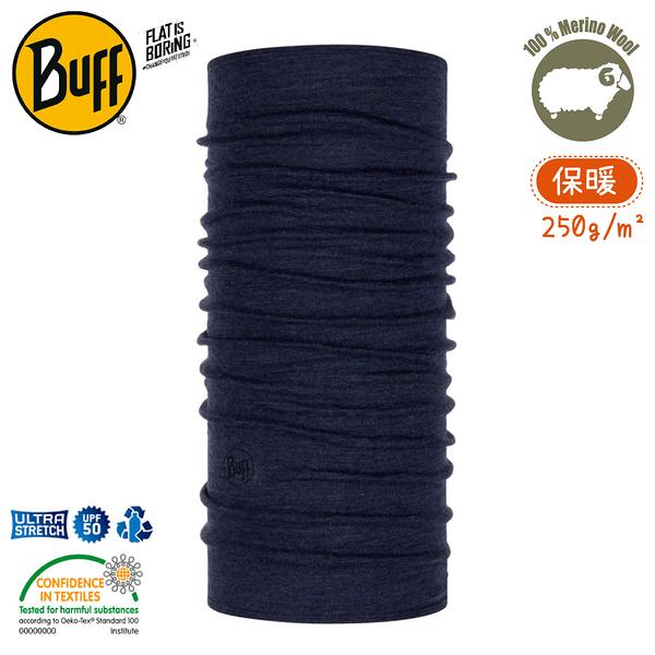 【BUFF 西班牙 美麗諾羊毛織色頭巾-保暖 午夜藍】113022/圍脖/帽子/口罩/吸溼排汗/抗菌除臭