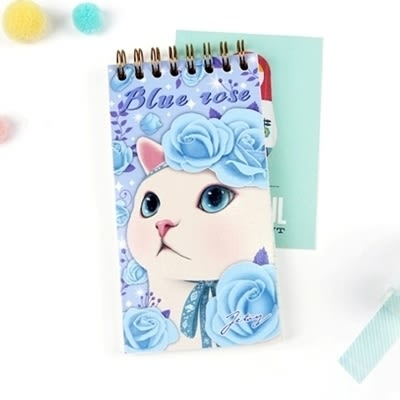 JETOY, 甜蜜貓 口袋 筆記本( check list)_Blue rose