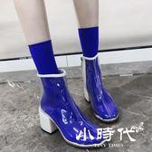 短靴 透明靴子女夏短靴同款高跟鞋馬丁靴女英倫風春秋