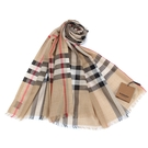BURBERRY 輕質格紋羊毛真絲披肩圍巾(淺駝色)089543-2