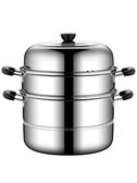 不銹鋼蒸鍋三層煤氣爐電磁爐家用多層蒸饅頭蒸籠加厚2二層3層28CM NMS喵小姐