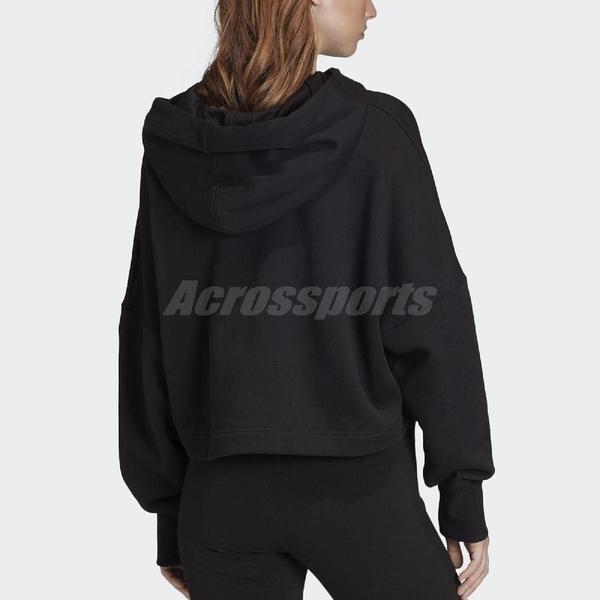 adidas 長袖T恤 Cropped Large Logo Hoodie 黑 白 女款 帽T 運動休閒 短版 【PUMP306】 FS1314