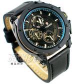 KADEMAN卡德蔓 齒輪造型 真三眼粗曠型男手錶 IP黑電鍍 皮革男錶 防水手錶 K116G黑黃