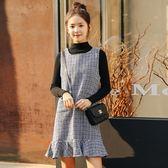 毛衣加裙子洋裝    毛衣背心裙兩件套女秋冬裙韓版背帶打底連身裙加內搭針織套裝裙子 瑪麗蘇