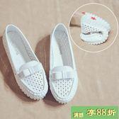 豆豆鞋夏季韓版百搭休閒豆豆鞋女防滑孕婦鞋懶人鞋白色護士鞋子