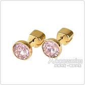 kate spade Reflecting pool系列黑桃LOGO簡約設計鑽鑲飾穿式耳環(金x粉紅)