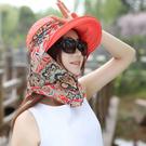 遮陽帽 彩色 圖騰 沙灘巾 帽簷 折疊 遮陽帽 【CF041】 icoca  08/03