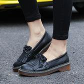 英倫復古流蘇平底鞋子 粗跟皮鞋《小師妹》sm839