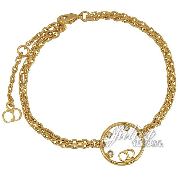 茱麗葉精品【全新現貨】Christian Dior CD LOGO水鑽垂墜造型手鍊.金