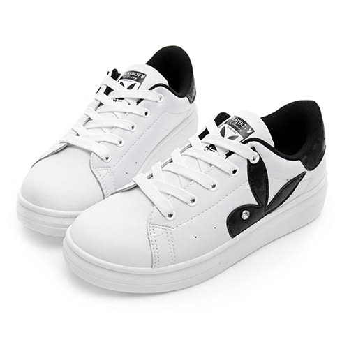 PLAYBOY 簡約仿皮綁帶休閒鞋-白黑