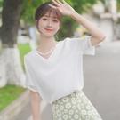 蕾絲上衣 帛卡琪拼接蕾絲雪紡衫夏季仙女白色V領短袖襯衫洋氣上衣 唯伊時尚