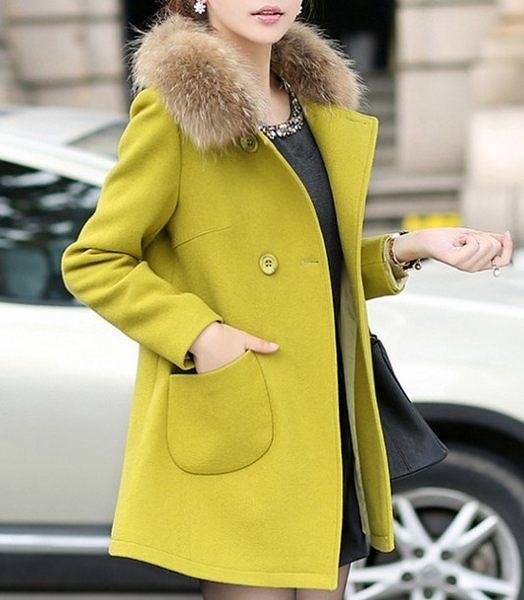 韓版冬季新款羊毛雙面呢子大衣 奢華大毛領雙排釦呢大衣(三色/五碼可選)