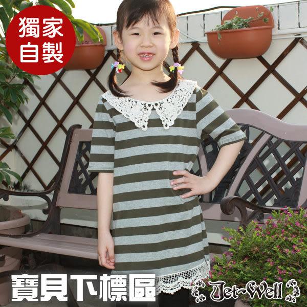 童裝 日系進口蕾絲七分袖條紋針織洋裝8W2250C 現貨 J-WELL