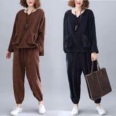 燈芯絨雙口袋套裝(上衣+褲子)-大尺碼 獨具衣格