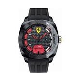 【Ferrari 法拉利】Scuderia競速碳纖維設計三眼方形橡膠腕錶-質感黑/FA0830203/台灣總代理享兩年保固