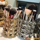 歐式金色水晶化妝刷收納筒刷子桶化妝品收納盒眉筆梳子盒整理【小獅子】