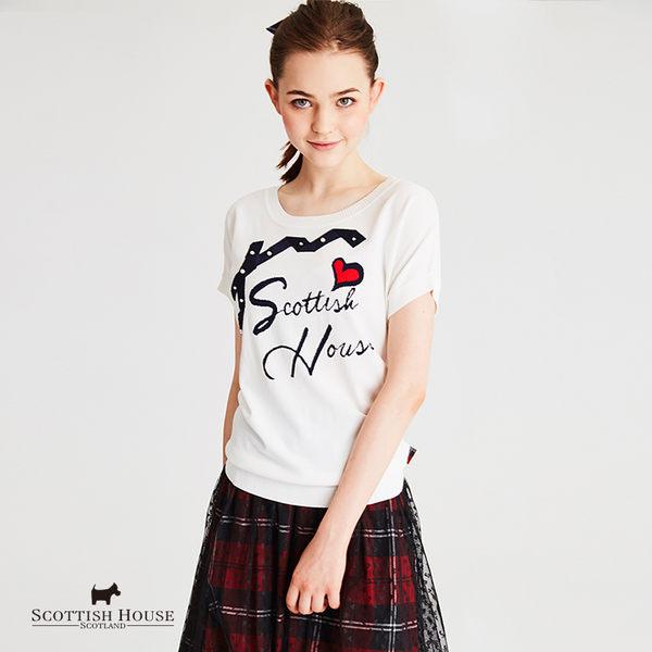迴紋帶蝴蝶結文字寬版短袖 Scottish House【AH1117】