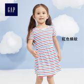 Gap女嬰幼童 休閒圓領繫結衣袖基本款T恤式洋裝 307071-紅色條紋